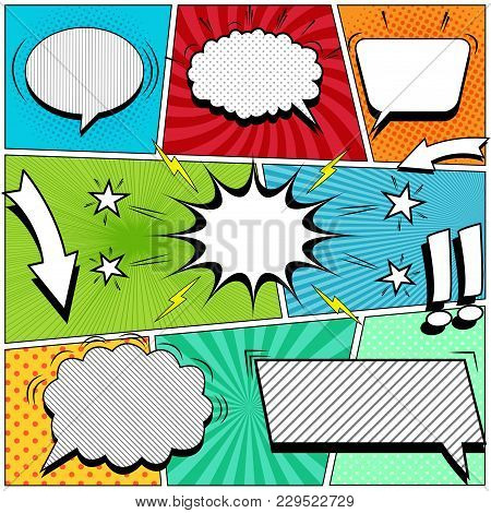 Comic Book Page Background With White Speech Bubbles Arrows Stars Exclamation Points Lightnings Soun