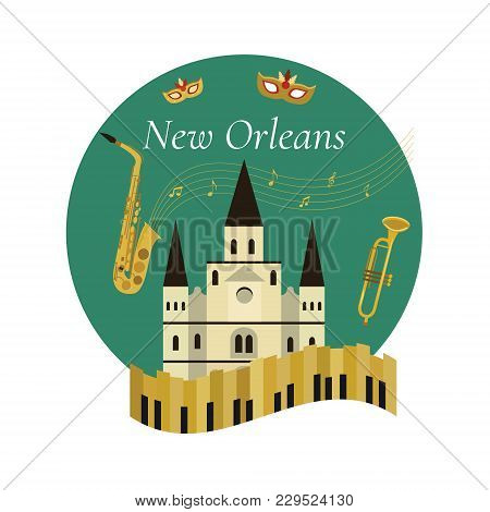 Welcome To New Orleans Poster With Famous Symbols And St Louis Cathedral