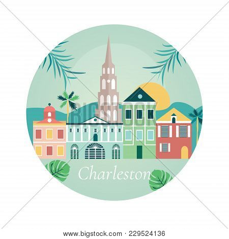 Welcome To Charlestone Poster With View On Buildings Facade