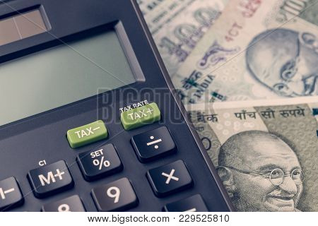 India Financial, New Emerging Market High Growth Country Concept, Closed Up Of Calculator On Indian