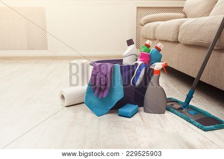 Bucket With Sponge, Chemicals Bottles, Mopping Stick, Rubber Gloves. Household Equipment, Spring-cle