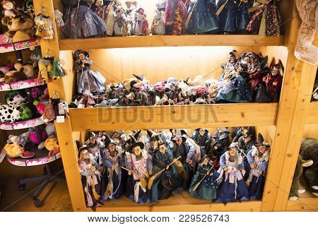 Witch Dolls For Sale Travelers People In Souvenir Gift Shop In Black Forest Or Schwarzwald In German