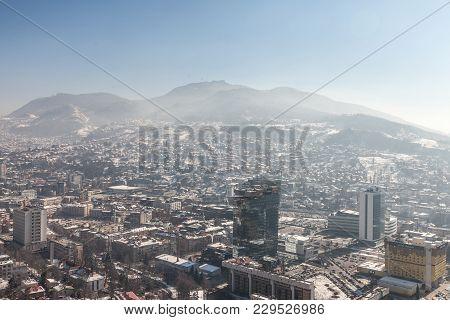 Sarajevo, Bosnia Herzegovina - February 16, 2018:  Aerial Picture Of The Newer Part Of Sarajevo Duri