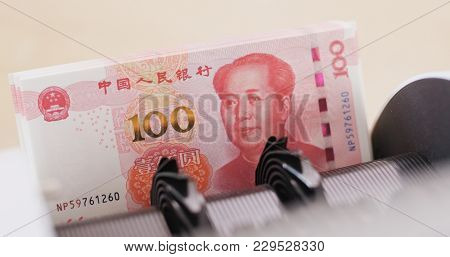 RMB banknote on automatic counting machine