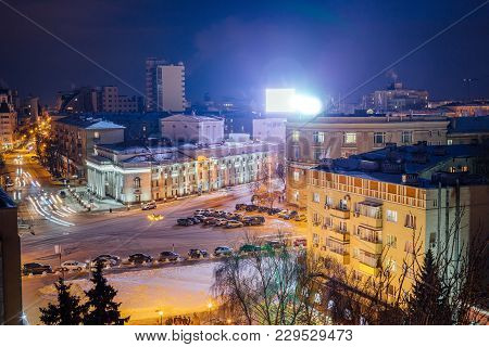 Aerial Night View Of Voronezh Drama Theater Named After A. Koltsov And Revolution Prospect.