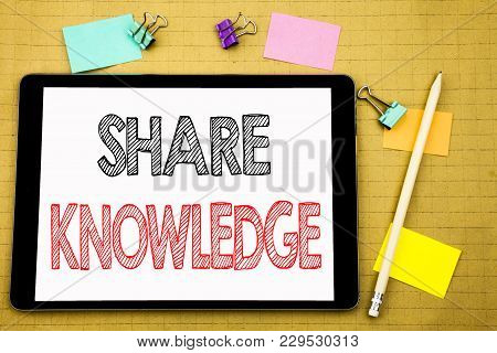 Word, Writing Share Knowledge. Business Concept For Education Sharing Written On Laptop, Wooden Back