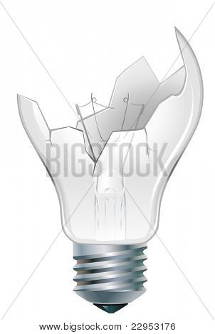broken-down  incandescent old light bulb