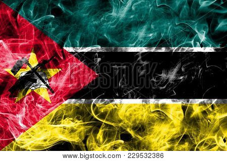 Mozambique Smoke Flag Isolated On A Black Background