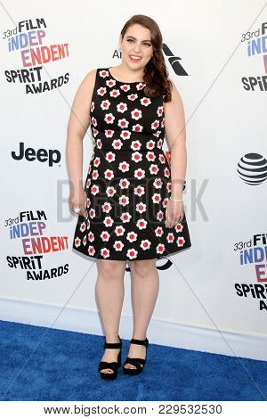 LOS ANGELES - MAR 3:  Beanie Feldstein at the 2018 Film Independent Spirit Awards at the Beach on March 3, 2018 in Santa Monica, CA