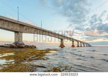 Confederation Bridge Linking Prince Edward Island With Mainland New Brunswick (as Viewed From The Pr