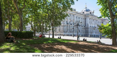 Madrid-september, 13: The Royal Palace From Square Oriente In Madrid-on September 13, 2017 In Madrid