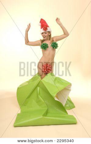 Christmas Woman With Santa Hat Ribbons And Bows