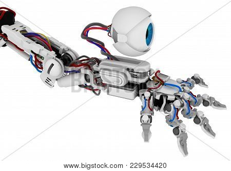 Robotic Arm With Eye Camera Upgrade 3d Illustration, Horizontal, Over White, Isolated