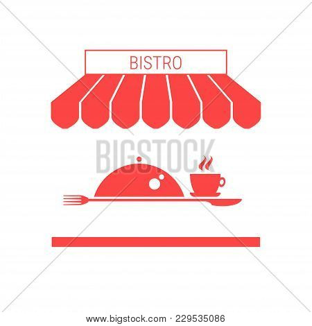 Bistro, Fast Food Single Flat Vector Icon. Striped Awning And Signboard. A Series Of Shop Icons.