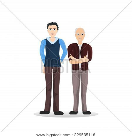 Two Man Young Senior Full Length, Cartoon Male Isolated On White Background Flat Vector Illustration