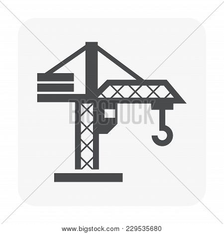 Tower Crane Icon On White, Black Color.