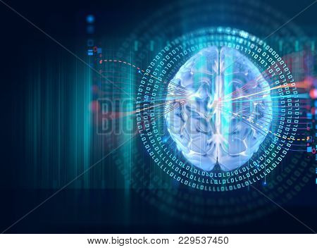 3d Rendering Of Human  Brain On Technology Background  Represent Artificial Intelligence And Cyber S