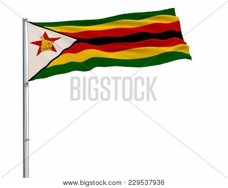Flag Of Zimbabwe On The Flagpole Fluttering In The Wind On A White Background, 3d Rendering