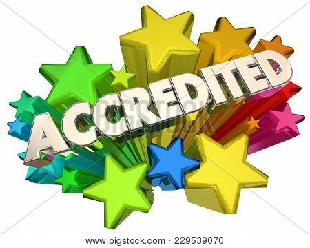 Accredited Evaluated Approved Test Passed Stars 3d Illustration