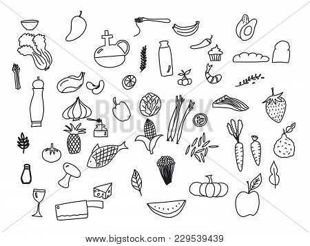 Hand Drawn Doodle Healthy Food Icons Set. Set Of Black And White Food And Drink Icons. Illustration.