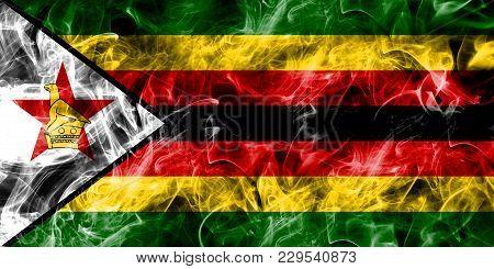 Zimbabwe Smoke Flag Isolated On A Black Background