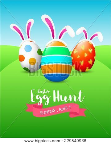 Colorful Easter Eggs And Ears Of A Rabbit. Easter Egg Hunt Concept. Illustration, Design For Poster,