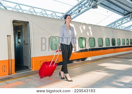 Beautiful Asian Girl Gets Off The Train