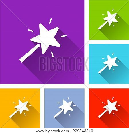 Illustration Of Magic Wand Icons With Shadow