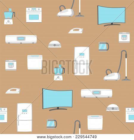 Home Appliance Set Seamless Background. Tv, Refrigerator, Conditioner, Dishwasher, Oven, Kettle, Iro