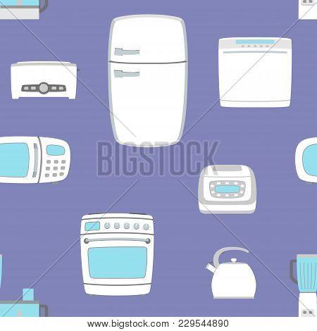 Kitchen Appliance Set Seamless Background. Refrigerator, Dishwasher, Oven, Kettle, Multicooker, Blen