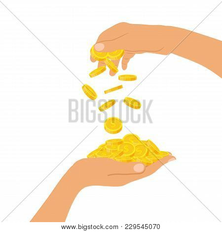 Hand Holding A Pile Of Coins And A Hand Throwing Down Coins, Icon Flat Finance Heap, Fall Dollar Coi