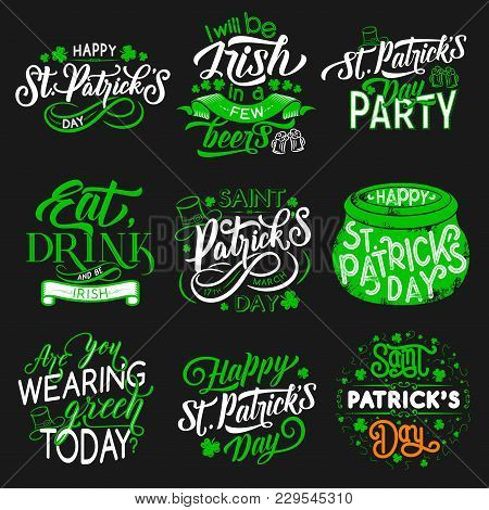 St Patrick Day Party Icons For Irish Traditional Holiday. Vector Isolated Symbols Of Green Shamrock