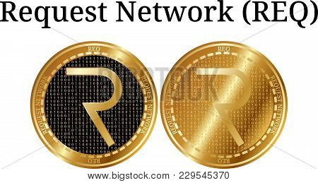 Set Of Physical Golden Coin Request Network (req), Digital Cryptocurrency. Request Network (req) Ico