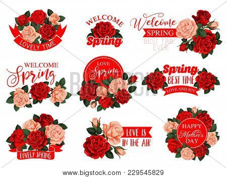 Mothers Day Holiday And Springtime Flowers And Ribbons Icons For Seasonal Greeting Card Design. Vect