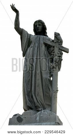 Mourning Woman Statue With Cross On White Background