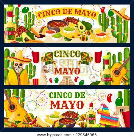 Cinco de mayo mexican holiday vector photo bigstock cinco de mayo mexican holiday fiesta celebration greeting banners of traditional food and mexico sym m4hsunfo Image collections