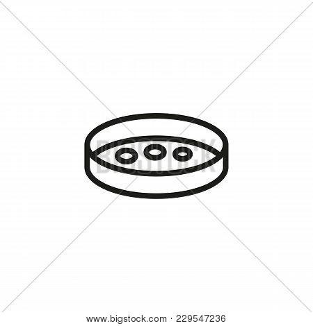 Icon Of Biological Sample In Petri Dish. Laboratory, Glassware, Bacteria. Medical Research Concept.