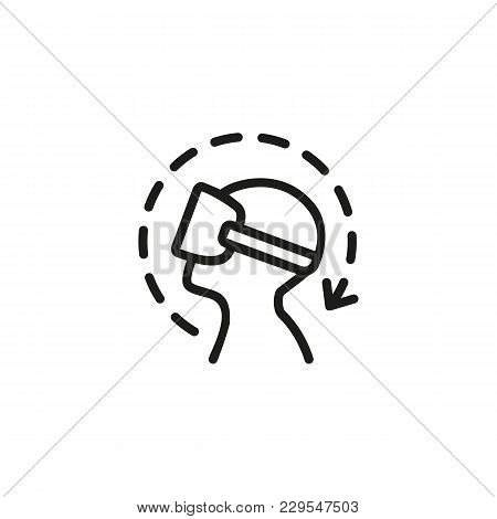 Icon Of Man In Virtual Reality Simulator. Turning Head, Gaming, Digital World. Interactivity Concept
