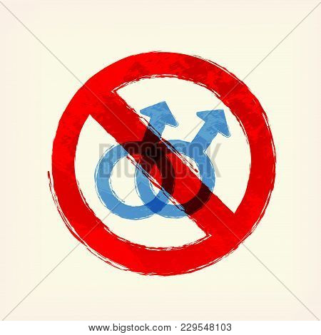 Blue Sex Man, Male, Gay Crossing Sign Icon, Symbol, Pale Yellow Background. Stop, Prohibition. Paint