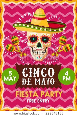 Creative Festive Poster With Skull On Pink Background. Banner For Fiesta Party Cinco De Mayo At 5 Of