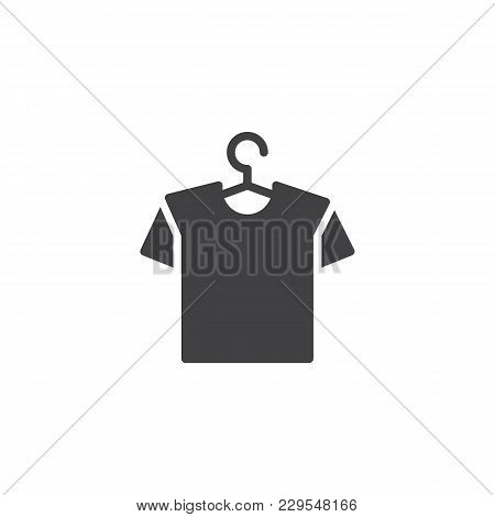 Hanger With Shirt Vector Icon. Filled Flat Sign For Mobile Concept And Web Design. T-shirt On A Hang