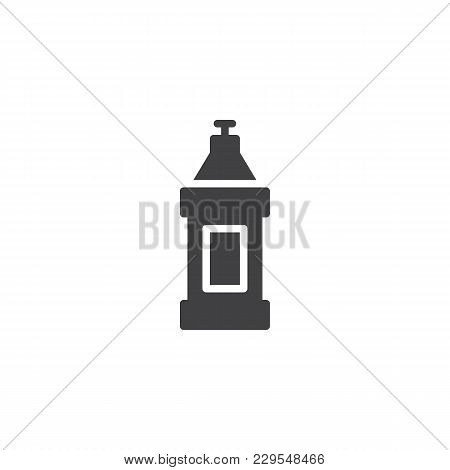 Detergent Bottle Vector Icon. Filled Flat Sign For Mobile Concept And Web Design. Dishwashing Contai