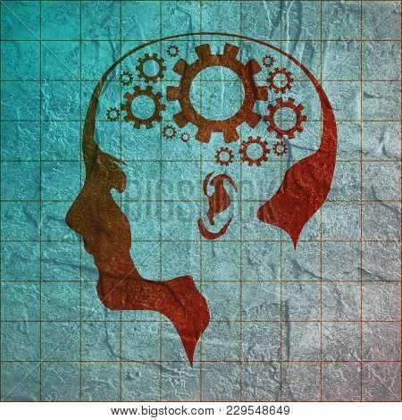 Silhouette Of A Woman Head. Scientific Medical Design. Connected Gears As Symbol Of Brains.