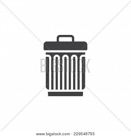 Trash Can Vector Icon. Filled Flat Sign For Mobile Concept And Web Design. Bin, Delete Simple Solid