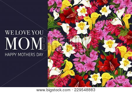 Mother Day Greeting Card With Spring Flower Background. Springtime Holiday Floral Poster Of Blooming