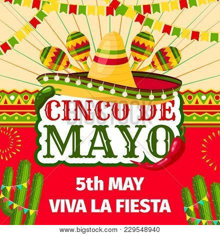 Cinco De Mayo Fiesta Invitation Card For Mexican Holiday Party Celebration. Vector Entry Flyer Desig