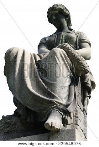 Resting Victorian Woman Statue On White Background