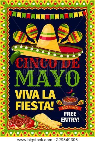 Cinco De Mayo Mexican Holiday Fiesta Invitation Card For Party Celebration. Vector Poster For Viva F