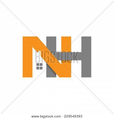 Nh Initial Letter Realty Logo Design. Lettering Realty Logo Design Vector Concept And Idea.