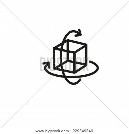 Icon Of Virtual Three-dimensional Cube. Rotation, Figure, Arrow. Geometry Concept. Can Be Used For T